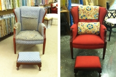Before & After Reupholstered Chair & Ottoman