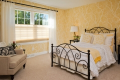 Custom Draperies over Vignette® Modern Roman Shades with Coordinating Wallpaper & Bedding