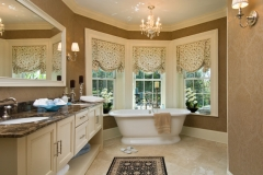 Custom Fabric Roman Shades in the Bathroom