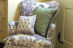 Reupholstered Chair with Custom Pillows
