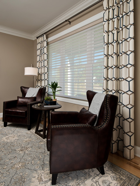 Custom Draperies over Silhouette® Window Shadings in the Living Room