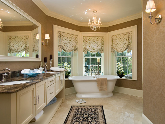 Custom Fabric Roman Shades in the Bathroom