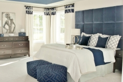 Custom Draperies, Headboard and Bedding in the Bedroom